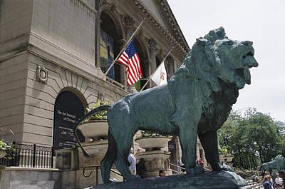 Bronze Lions Stand Guard Over The Art Art Print