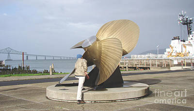Museum Mixed Media Mixed Media - Bronze Propeller Maritime Museum Astoria by Beverly Guilliams