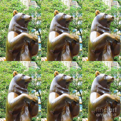 Photograph - Bronze Statue Sculpture Of Bear Clapping Fineart Photography From Newyork Museum Usa Fineartamerica by Navin Joshi