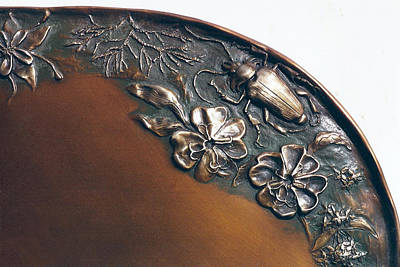 Sculpture - Bronze Tray Detail With Beetle by Dawn Senior-Trask