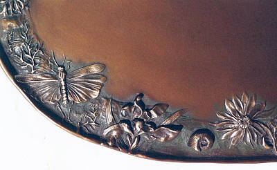 Sculpture - Bronze Tray Detail With Locust by Dawn Senior-Trask
