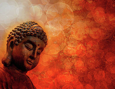 Photograph - Bronze Zen Buddha Red Grunge Background by Jit Lim
