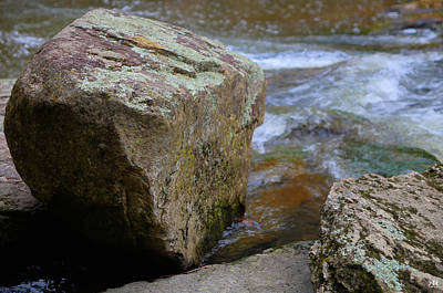 Photograph - Brook And Boulder by John Meader