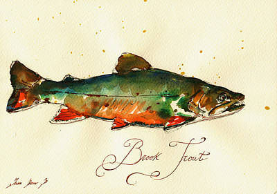 Brook Trout Art Art Print by Juan  Bosco