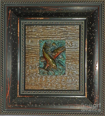 Sculpture - Brook Trout - Bronze Relief Framed by Dawn Senior-Trask