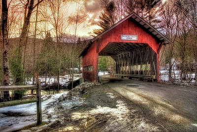 New England Covered Bridges Photograph - Brookdale Covered Bridge - Stowe Vt by Joann Vitali