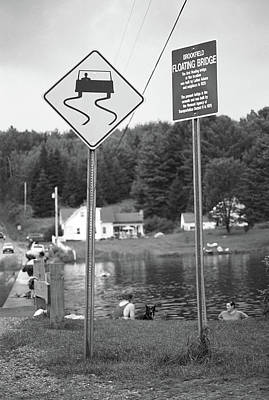 Print featuring the photograph Brookfield, Vt - Floating Bridge 2 Bw by Frank Romeo
