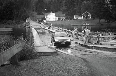 Print featuring the photograph Brookfield, Vt - Floating Bridge 3 Bw by Frank Romeo