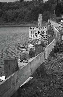Print featuring the photograph Brookfield, Vt - Floating Bridge 4 Bw by Frank Romeo