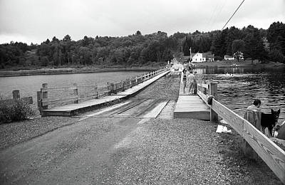 Print featuring the photograph Brookfield, Vt - Floating Bridge 5 Bw by Frank Romeo