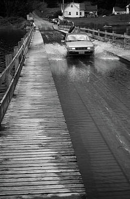 Print featuring the photograph Brookfield, Vt - Floating Bridge Bw by Frank Romeo