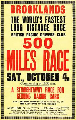 Brooklands 500 Mile Race 1930 Art Print by Mark Rogan
