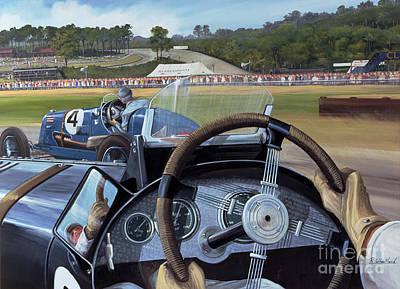 Brooklands From The Hot Seat  Art Print by Richard Wheatland