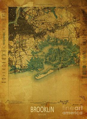 Historia Wall Art - Digital Art - Brooklin 1898 - Historical Map by Drawspots Illustrations