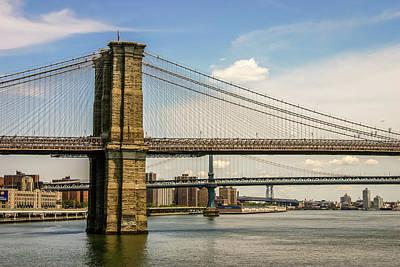 Photograph - Brooklin Bridge Ny by Menachem Ganon
