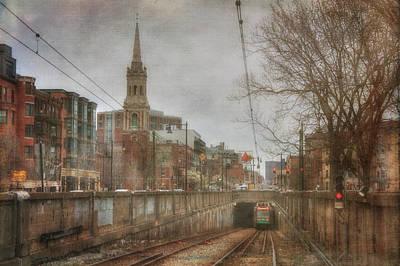 Photograph - Brookline T Stop - Vintage Boston by Joann Vitali