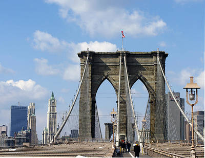 Brooklyn Bridge Photograph - Brookln Bridge And Woolworth Building by Frank Winters