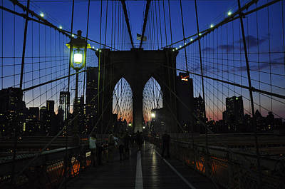 Photograph - Brookly Bridge At Twilight by Andrew Dinh