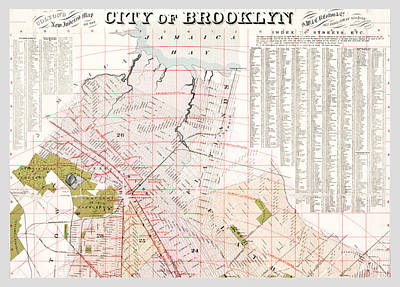 Photograph - Brooklyn 1893 Map by Rospotte Photography
