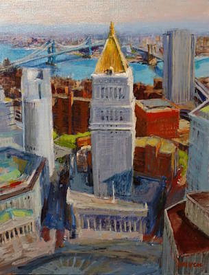 Brooklyn And East River Bridges From Foley Square Art Print by Peter Salwen