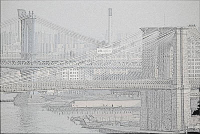 Photograph - Brooklyn And Manhattan Bridges 1984 by John Schneider