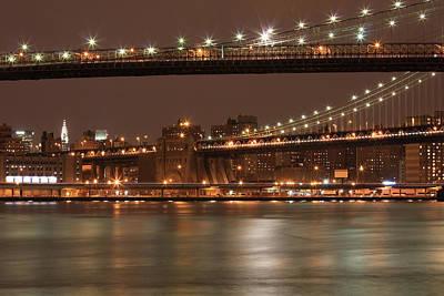 Brooklyn And  Manhattan Bridges At Night Art Print by Boris REYT