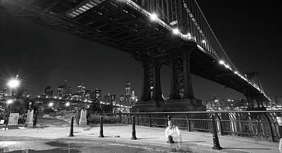 Photograph - Brooklyn And Manhattan Bridges by Johnny Sandaire