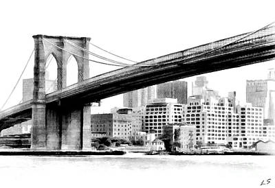 Drawing - Brooklyn Bridge 01 by Sergey Lukashin