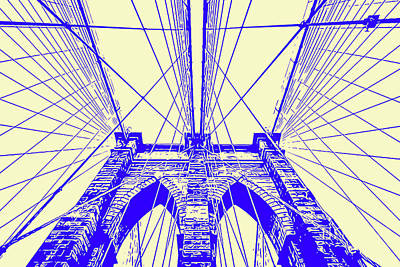 Painting - Brooklyn Bridge - Abstract Blue by Andrea Mazzocchetti