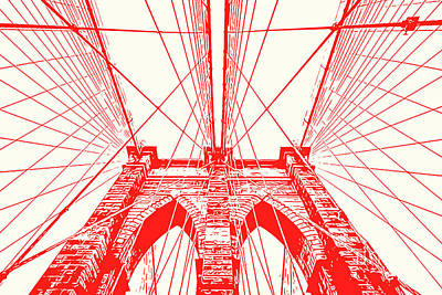 Painting - Brooklyn Bridge - Abstract Red by Andrea Mazzocchetti