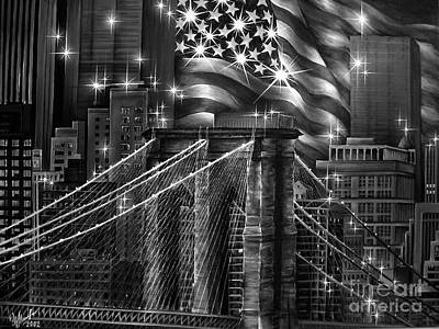 Old Glory Mixed Media - Brooklyn Bridge. After 9.11.01 by Sofia Metal Queen