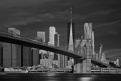 Photograph - Brooklyn Bridge And Freedon Tower Infrared by Jerry Fornarotto