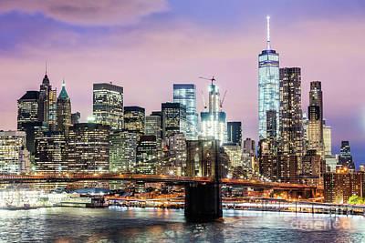 Photograph - Brooklyn Bridge And Manhattan Skyline At Dusk, New York, Usa by Matteo Colombo