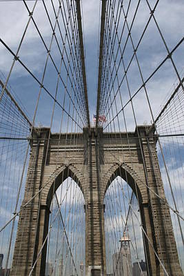 Photograph - Brooklyn Bridge And Old Glory by Christopher Kirby