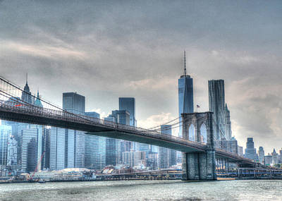 Photograph - Brooklyn Bridge And The Lower Manhattan Financial District by Allen Beatty