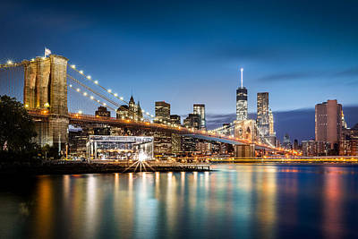 Photograph - Brooklyn Bridge And The Lower Manhattan Skyline by Mihai Andritoiu