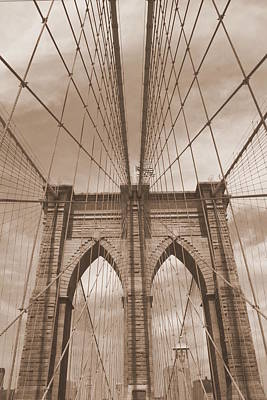 Photograph - Brooklyn Bridge Antiqued by Christopher Kirby