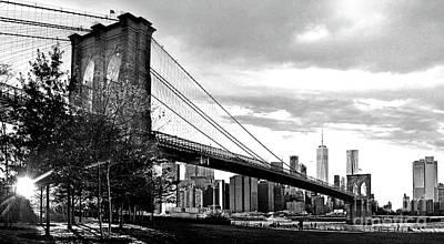 Photograph - Brooklyn Bridge At Dusk In Black And White by Carlos Alkmin