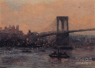 Redfield Painting - Brooklyn Bridge At Night by MotionAge Designs