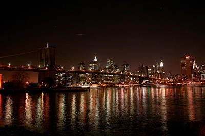 Brooklyn Bridge At Night Art Print by Jason Hochman