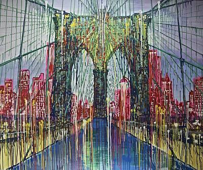 Brooklyn Bridge Mixed Media - Brooklyn Bridge At Night by Jiian Chapoteau