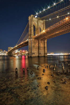Photograph - Brooklyn Bridge At Night by Mark Dodd