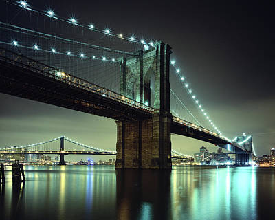Built Structure Photograph - Brooklyn Bridge At Night, New York City by Andrew C Mace