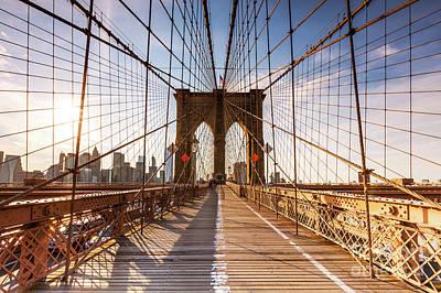 Photograph - Brooklyn Bridge At Sunset, New York, Usa by Matteo Colombo