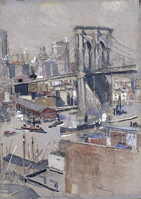 Poster Painting - Brooklyn Bridge  Before by MotionAge Designs