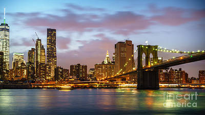 Photograph - Brooklyn Bridge Blue Hour by Daniel Heine
