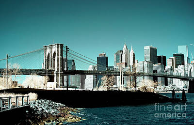 Photograph - Brooklyn Bridge Blue Infrared by John Rizzuto