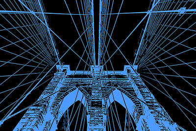 Painting - Brooklyn Bridge - Blue On Black by Andrea Mazzocchetti