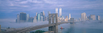 Tugboat Wall Art - Photograph - Brooklyn Bridge, East River, New York by Panoramic Images