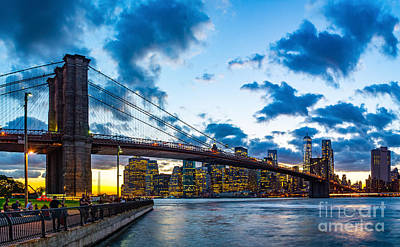 Photograph - Brooklyn Bridge Evening by Nick Zelinsky